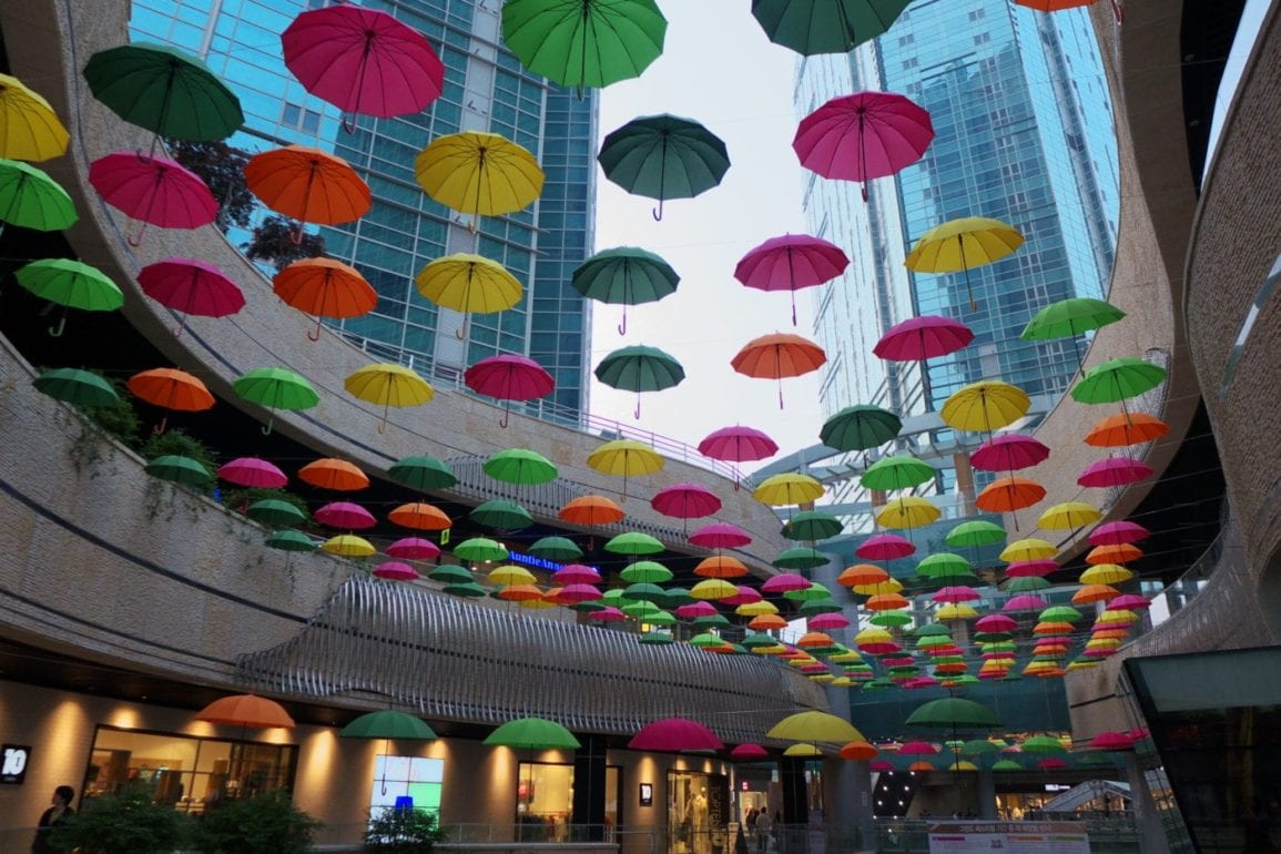 mall umbrellas art