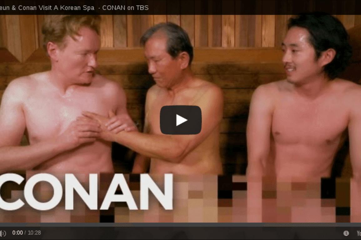 Conan O'Brien, jjimjilbang, spa, Steven Yeun