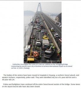 Yeongjong Bridge Pile Up (Yonhap)