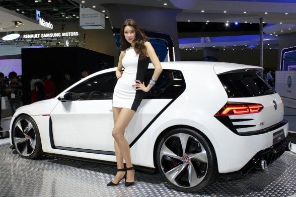 The Design Vision GTI concept car from Volkswagen makes it Asian premier at the Seoul Motor Show April 2, 2015. Photo by Walter Foreman