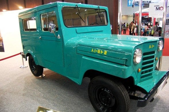 The first vehicle produced in Korea, the 1955 Sibal, on display at the 2015 Seoul Motor Show. Photo courtesy of the Seoul Motor Show