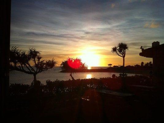 The beautiful sunset captured from Mihama's Chura-yu onsen on Okinawa-honto