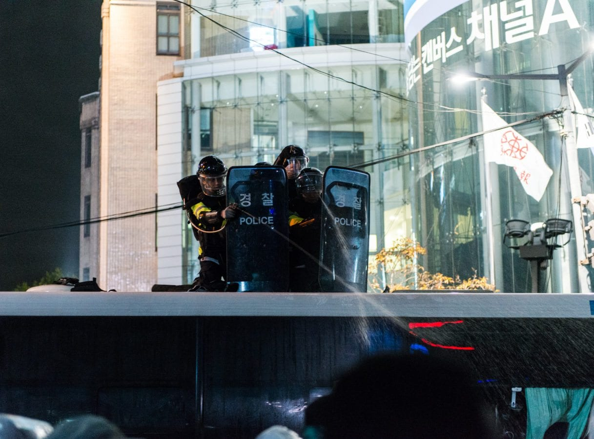 Seoul Protests 11/14 Police Bus