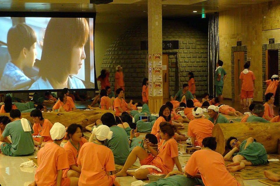 Jjimjilbang During Winter: Crowded Common Room