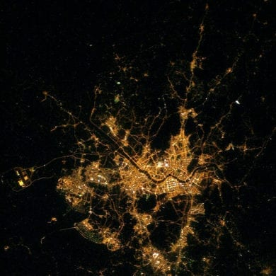seoul night time view network lights public