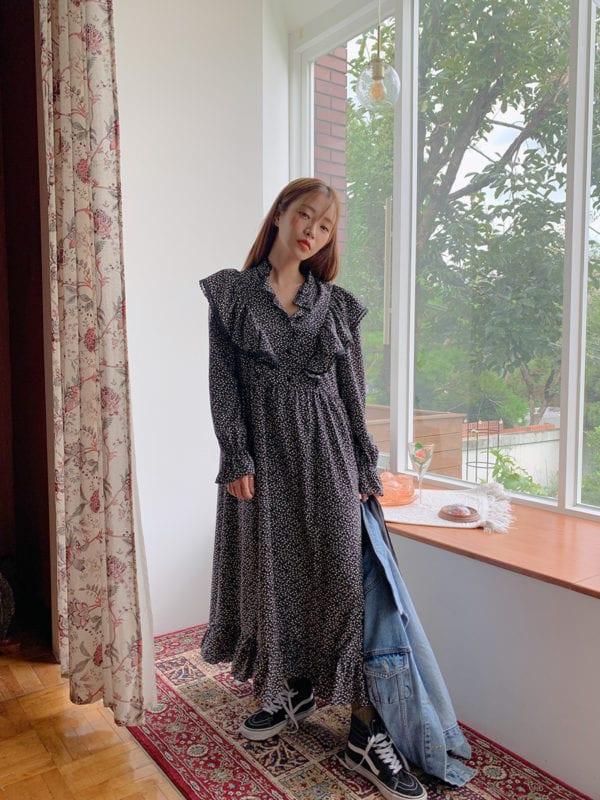 fall winter fashion trends korea korean flower floral dress