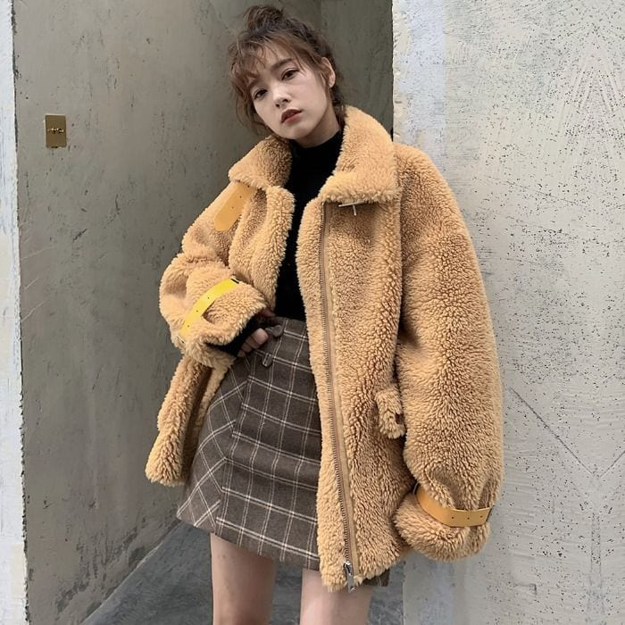 teddy bear jacket winter fashion korea korean 2019 trend