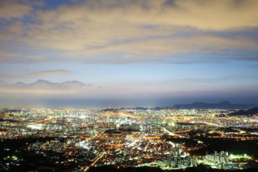 Twilight overhead view of Seoul