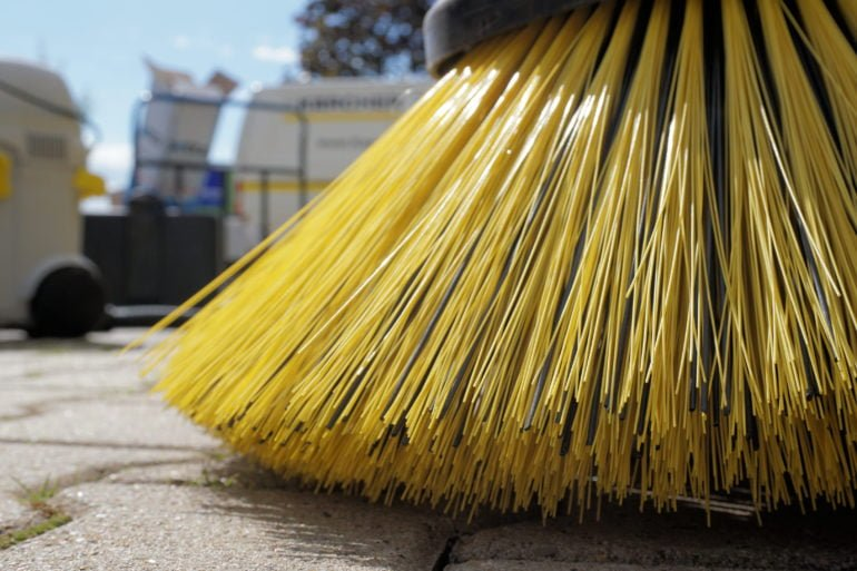 Close up of a street cleaner brush
