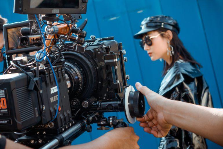 Crew filming a scene