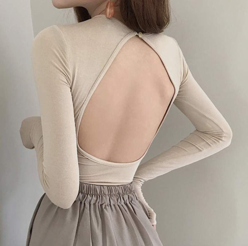 Korean fashion open back shirt