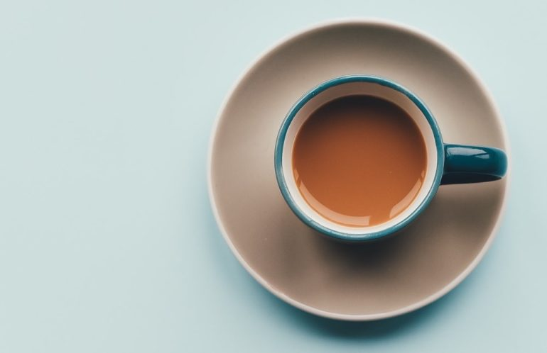 Overhead shot of a cup of espresso