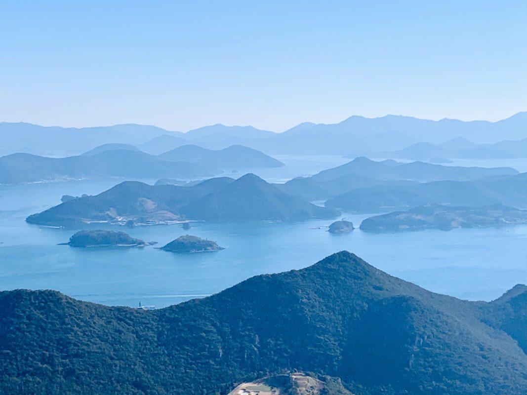mountains and sea in Tongyeong Korea
